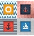Set of cards with nautical symbols in flat design vector image