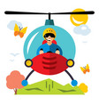 helicopter pilot flat style colorful vector image