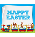 Happy Easter poster with rabbits on train vector image vector image