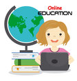girl with computer studying online vector image