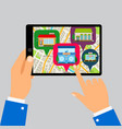 hands holding tablet with restaurants map vector image