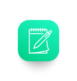 notebook and pen icon in linear style vector image