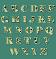 yellow alphabet with black floral decor vector image
