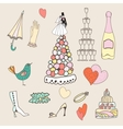 Wedding set of cute hand drawn icons vector image