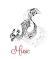 Abstract musical waves composition design vector image