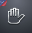 Hand print Stop icon symbol 3D style Trendy modern vector image