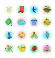 Spring icons set pop-art style vector image
