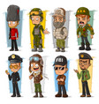 cartoon soldier and pilot character set vector image