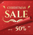 christmas sale banner template with swirled red vector image