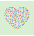 heart of padlocks keys in heart shape vector image