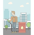 Man with oil can and filling nozzle vector image