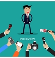 Media conducting a press interview with a vector image
