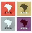 Concept flat icons with long shadow Brazil map vector image