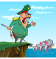 cartoon male General fishing commanded the fish vector image