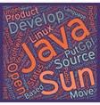 Java Goes Open Source text background wordcloud vector image