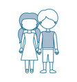 blue contour with color sections faceless couple vector image
