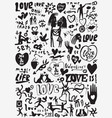 love valentines day doodles set vector image