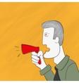 Business man is shouting via megaphone vector image