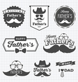 Happy Father day labels logo black and white vector image vector image