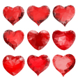 Red hearts of triangles vector image vector image