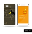 Design cover mobile smartphone Scary monster vector image