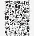 love valentines day doodles set vector image