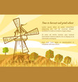 Wheat field and mill vector image