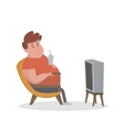Fat man sitting on the couch and watching TV vector image