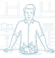Man with healthy food sketch vector image