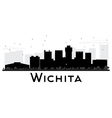 Wichita City skyline black and white silhouette vector image