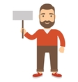 Man holding placard vector image