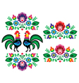 Polish ethnic floral embroidery with roosters vector image vector image