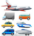 different transportations on white background vector image