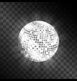 Disco ball isolated on transparent background vector image