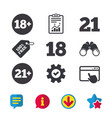 adult content icons eighteen plus years sign vector image