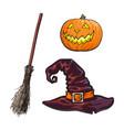 hand drawn halloween symbols - pumpking lantern vector image