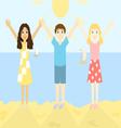 Happy children on the beach vector image