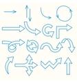 Arrows painted blue line vector image
