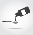Black icon of bottle with syrup and spoon vector image