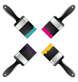 Four brush with CMYK colors vector image