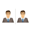 Men with acne and clear skin vector image