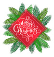 merry christmas postcard with hand lettering vector image