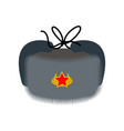 russian earflaps hat winter warm hat made of fur vector image