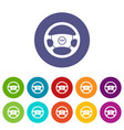 steering wheel of taxi set icons vector image