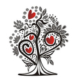 Valentines day card tree love hearts vector image