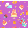 Wedding Seamless Pattern with Rings Cake and Bells vector image