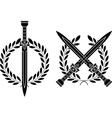 Roman swords and wreath vector image