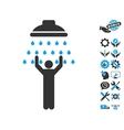 Man Under Shower Icon With Tools Bonus vector image