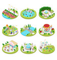 isometric city park with walking people vector image