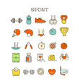 different sport thin line color icons set vector image vector image